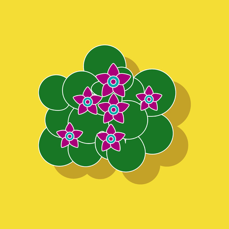paper sticker on stylish background plant Caltha