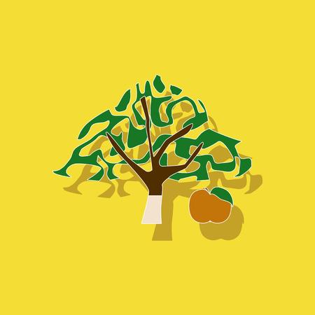 paper sticker on stylish background plant Malus
