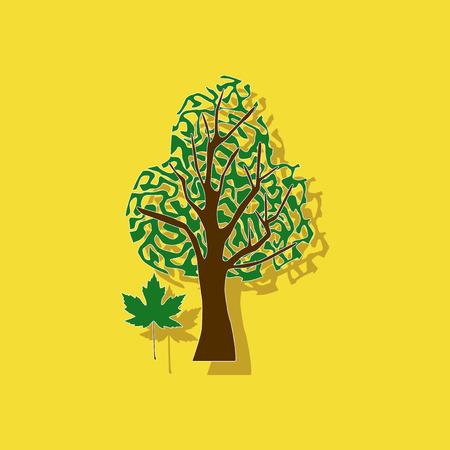 paper sticker on stylish background plant Acer