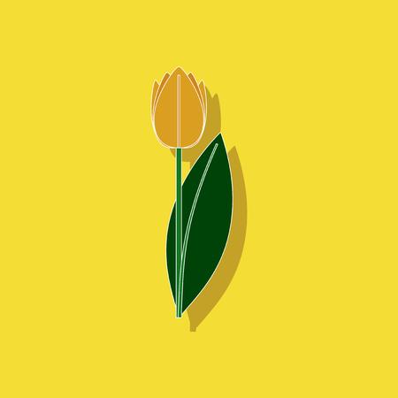 paper sticker on stylish background plant Tulipa