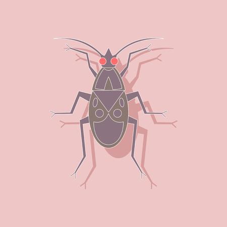 paper sticker on background of soldier bug Illustration