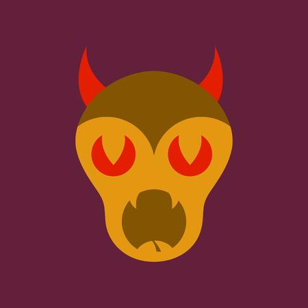 flat icon on stylish background halloween monster