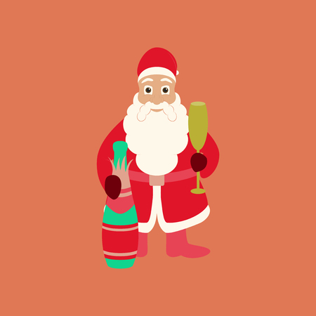flat illustration on background of Santa Claus