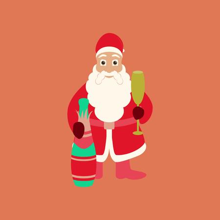 flat illustration on background of Santa Claus