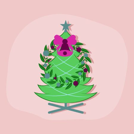 paper sticker on stylish background Christmas fir wreath Illustration