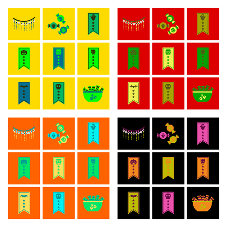 assembly flat icons halloween garland candy