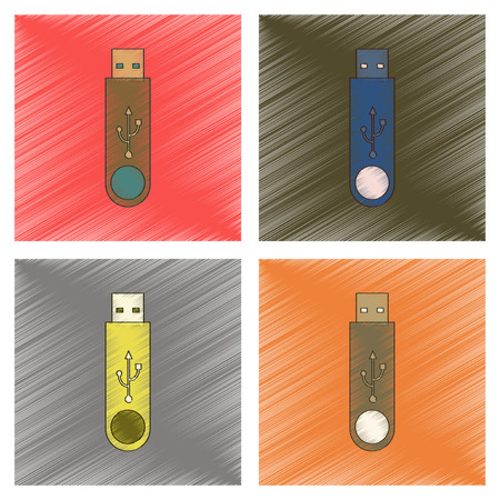 assembly flat shading style icon flash drive