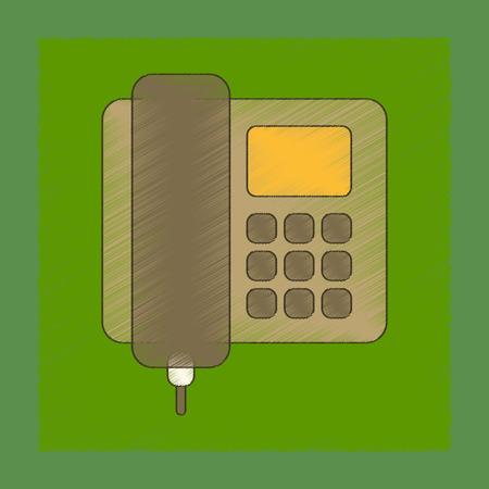 cable telefono: Plana, sombreado, estilo, icono, oficina, teléfono Vectores