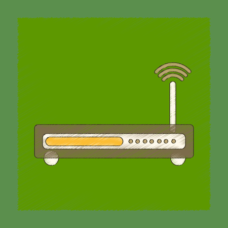networking cables: flat shading style icon Wi fi modem Illustration