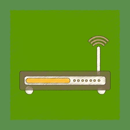 wap: flat shading style icon Wi fi modem Illustration