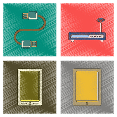 touchpad: assembly flat shading style icon Wi fi modem mobile phone gadget usb cable
