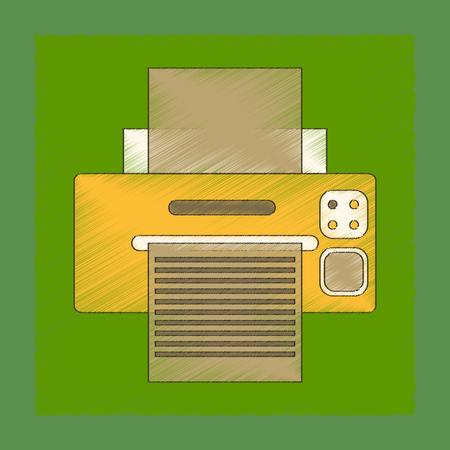 printed machine: flat shading style icon computer Printer Illustration