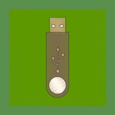 flat shading style icon flash drive 向量圖像