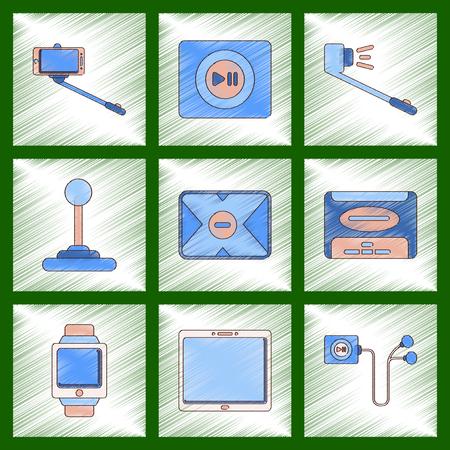 gigabytes: assembly flat shading style illustration Smartphone selfie stick game joystick music player tablet gadget Digital Watch hard drive player headphones