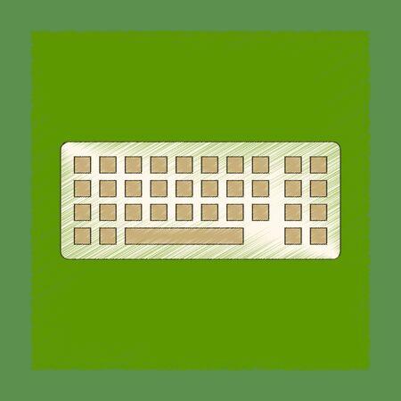 Ombrage à plat style icône clavier d'ordinateur Banque d'images - 81839711