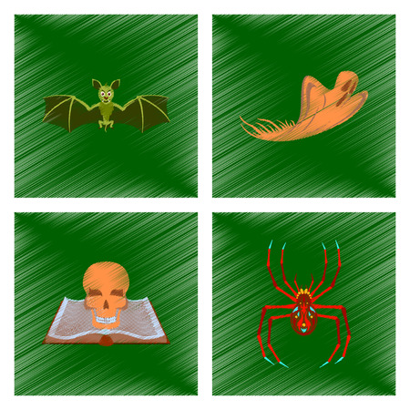 cobwebs: assembly flat shading style icon bat ghost book skull spider