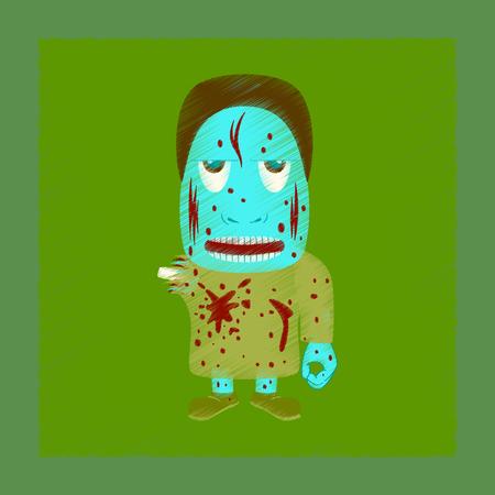 flat shading style icon zombie men