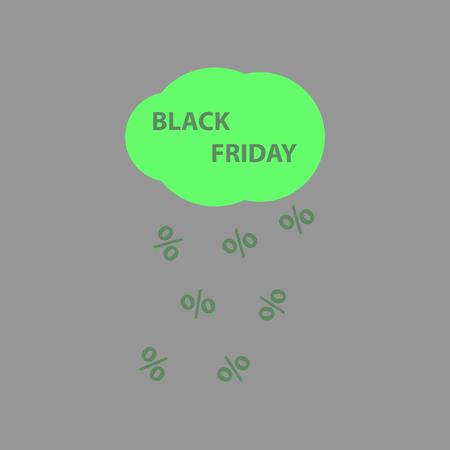 Flat icon of black Friday rain cloud