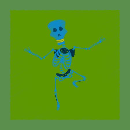 flat shading style icon skeleton Halloween monster Illustration