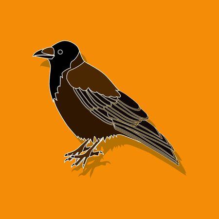 raven paper sticker on stylish background Illustration