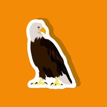 paper sticker on stylish background eagle