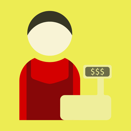 clothing store: Vector illustration of flat icon cashier