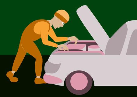 repairs: Mechanic repairs car motor
