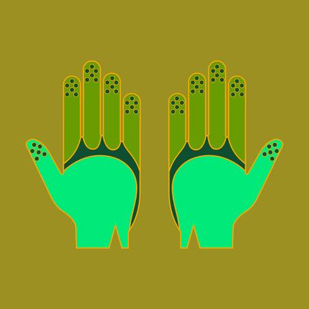 Icon in flat design Golf gloves Illustration