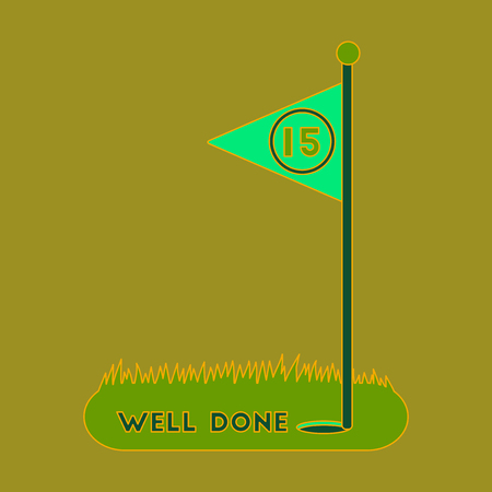 Icon in flat design Golf course well done Ilustração