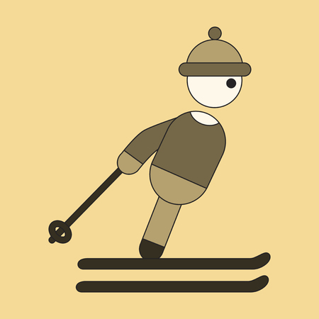 dangerous man: Icon in flat design skier Illustration