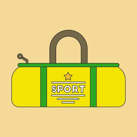 polyester: flat icon on stylish background Sports bag