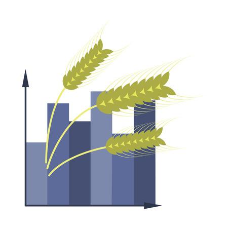flat icon on stylish background Wheat infographics Illustration