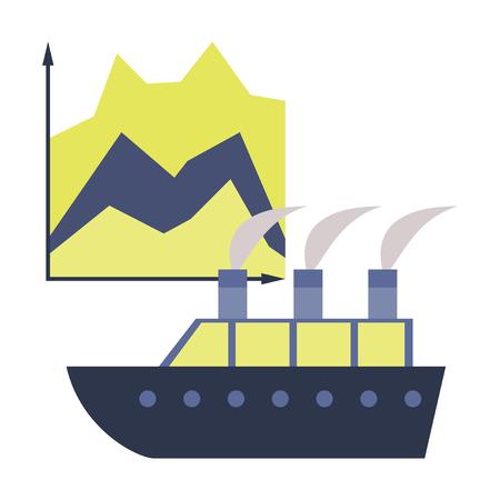 flat icon on stylish background Cruise ship Infographic Ilustracja