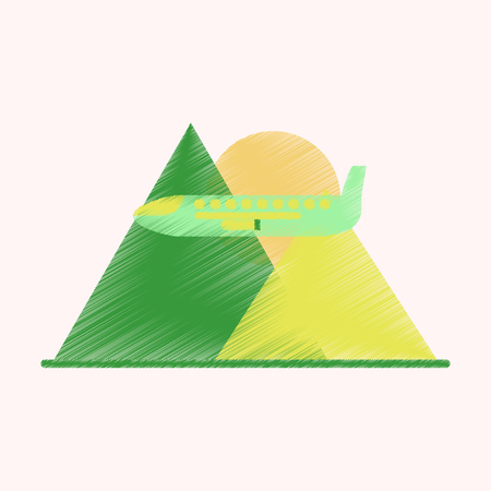 Flat Icon in Shading Style Plane in the mountains Ilustrace