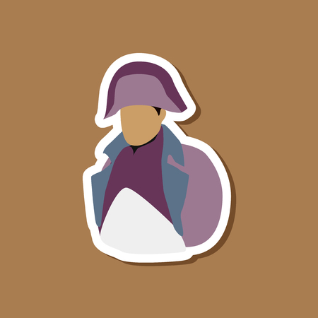 paper sticker on stylish background Napoleon