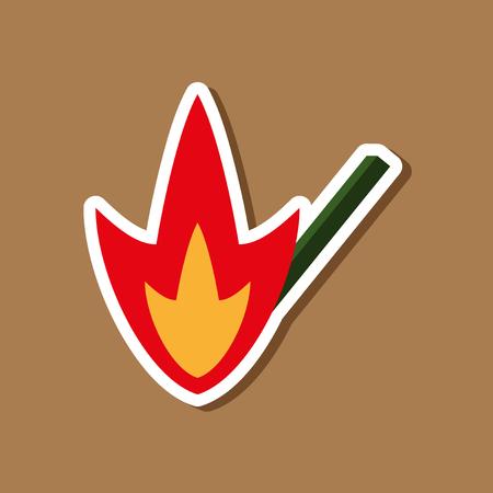paper sticker on stylish background match fire