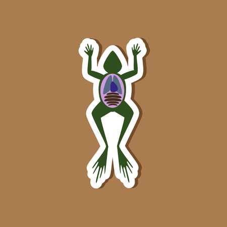 paper sticker on stylish background frog biology