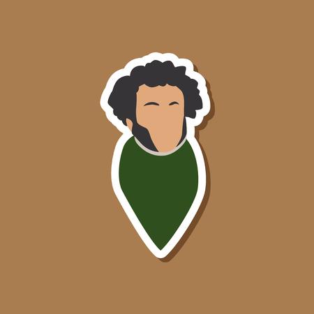 poet: paper sticker on stylish background Alexander Pushkin