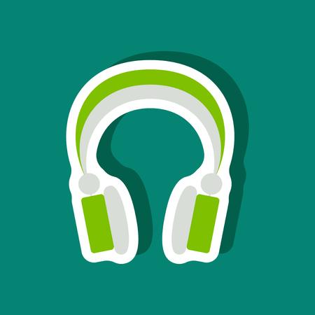 electronic music: paper sticker Technology gadget headphones