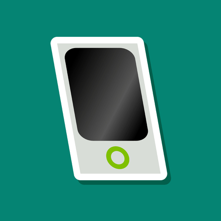 electronic music: paper sticker on stylish background mp3 player