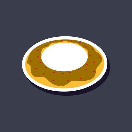 Sweet dessert in paper sticker Donut