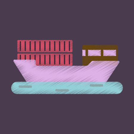 supertanker: Flat Icon in Shading Style Ship with containers Illustration