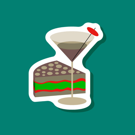paper sticker Cocktail and cake Illustration