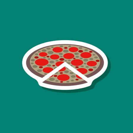 paper sticker pizza Illustration