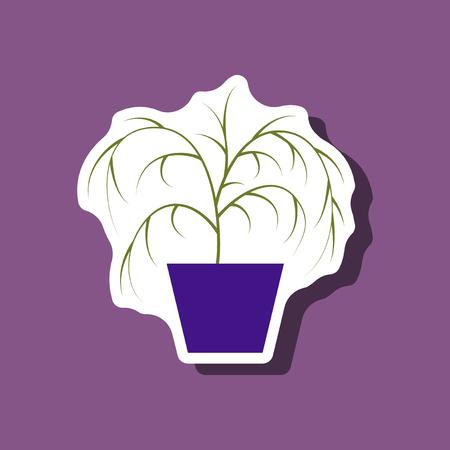 Papiersticker plant in een pot