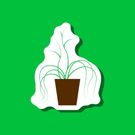 Papiersticker op stijlvolle achtergrondplant in een pot