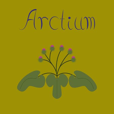 asteraceae: flat illustration stylish background plant Arctium