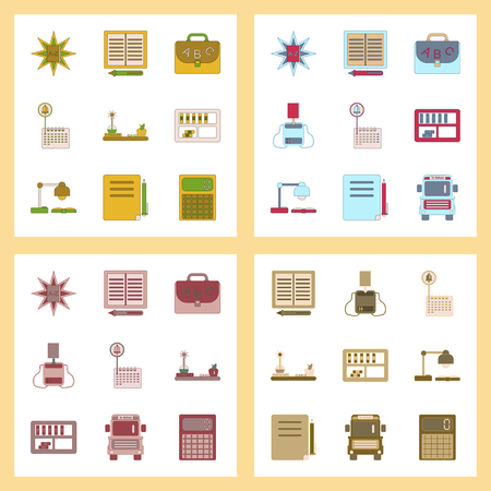 assembly flat icons school supplies Illustration