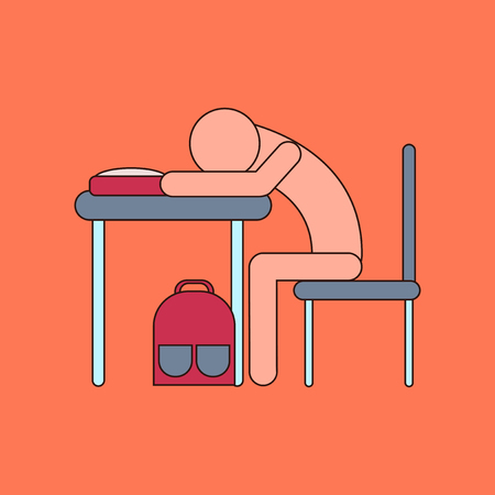 flat icon with thin lines student sleeping at desk Stock Vector - 82820482