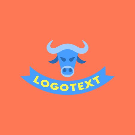 flat icon on background bull logo Illustration